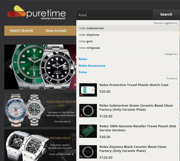 PureTime Search Box