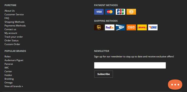 PureTime Website Footer